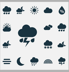 Nature icons set collection of haze cloudy vector