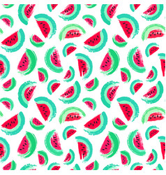 Painted watermelon pattern brush strokes vector