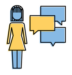 pictogram woman standing with speech bubbles vector image