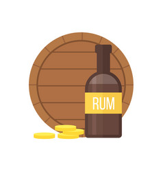 Pirate rum bottle and barrel vector