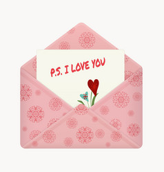 Postcard with a message ps i love you vector