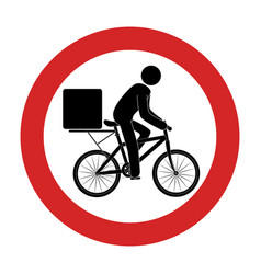 Road sign with delivery man in bike vector