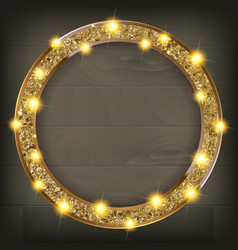 Round gold frame on a wooden background vector