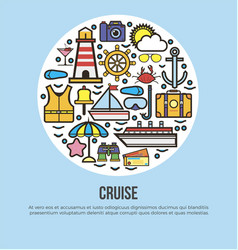 Sea cruise travel or summer ocean vacation vector