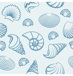 Sea shell hand drawn pattern vector image vector image