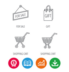 Shopping cart gift bag and sale icons vector