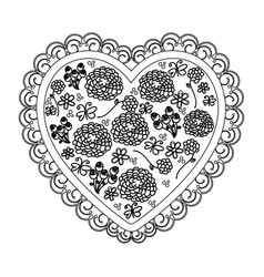 silhouette heart with decorative frame and pattern vector image
