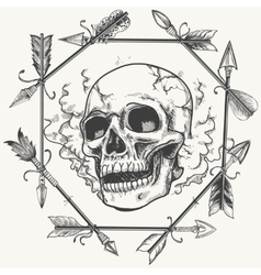 Sketch smoke skull and arrows frame vector