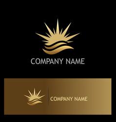 star beach wave summer gold logo vector image vector image