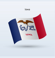 state of iowa flag waving form vector image