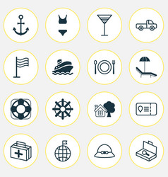 Travel icons set includes icons such as steering vector