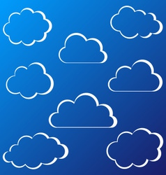 White clouds outline vector