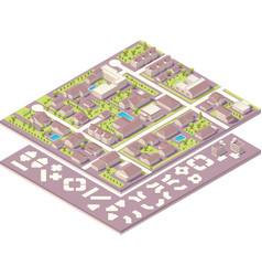 Isometric small town map creation kit vector