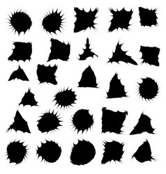 Black funny ink blots isolated set on white vector