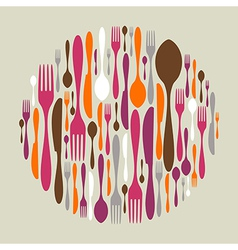 Circle shape made of cutlery icons vector