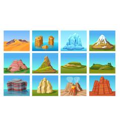 cartoon mountain landscapes set vector image