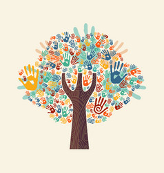 Hand tree colorful diverse community vector