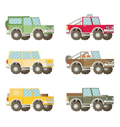 Off road car set isolated on white background flat vector