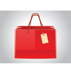 Red shopping bag with tag vector image