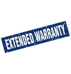 Square grunge blue extended warranty stamp vector