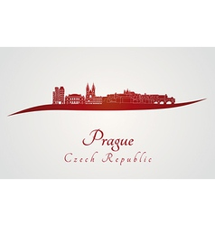 Prague skyline in red vector