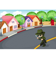 A detective at the road vector