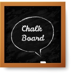 Realistic chalkboard with hand-drawn speech bubble vector