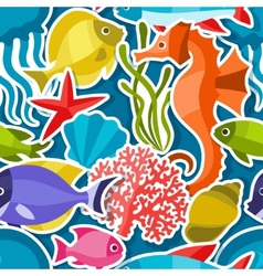 Marine life sticker seamless pattern with sea vector