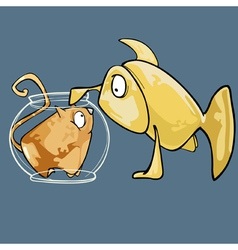 Cartoon fish looks at the cat in the aquarium vector