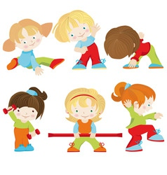 Six animated children vector