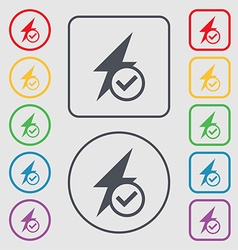 Photo flash icon sign symbols on the round and vector