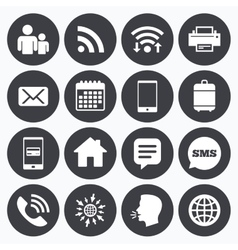 Contact mail icons communication signs vector