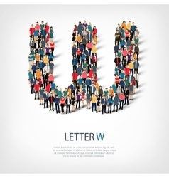 Group people shape letter w vector