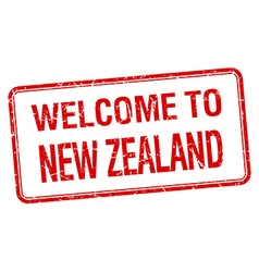 Welcome to new zealand red grunge square stamp vector