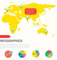 An infographics showing a yellow map vector
