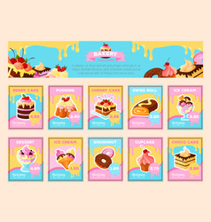 Bakery desserts price cards for shop vector