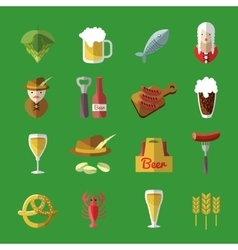 Beer Icon Flat Set vector image vector image