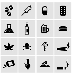black drugs icon set vector image vector image