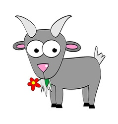 Cartoon Goat Eats Flower Symbol of 2015 Year vector image