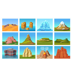cartoon mountain landscapes set vector image vector image
