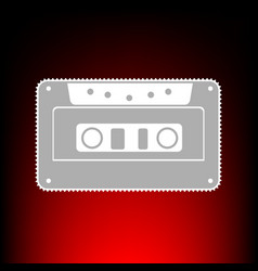 Cassette icon audio tape sign postage stamp or vector