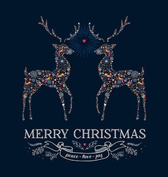 Christmas love reindeer vintage greeting card vector image