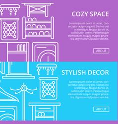 Cozy corridor space poster set in linear style vector