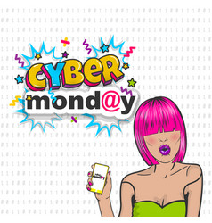 Cyber monday cute woman pop art hold phone vector
