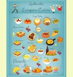 European Cuisine Menu vector image vector image