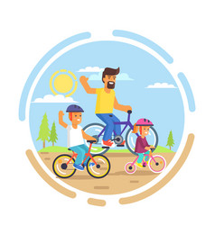 family bike ride with dad little daughter and son vector image vector image