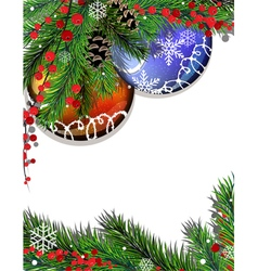 Fir branches and christmas decorations vector