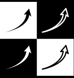 growing arrow sign black and white icons vector image vector image