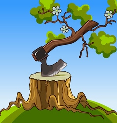Grown tree from the handle of the ax stuck vector