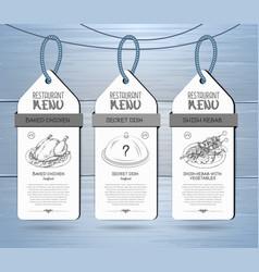 Hand drawing restaurant menu label design vector
